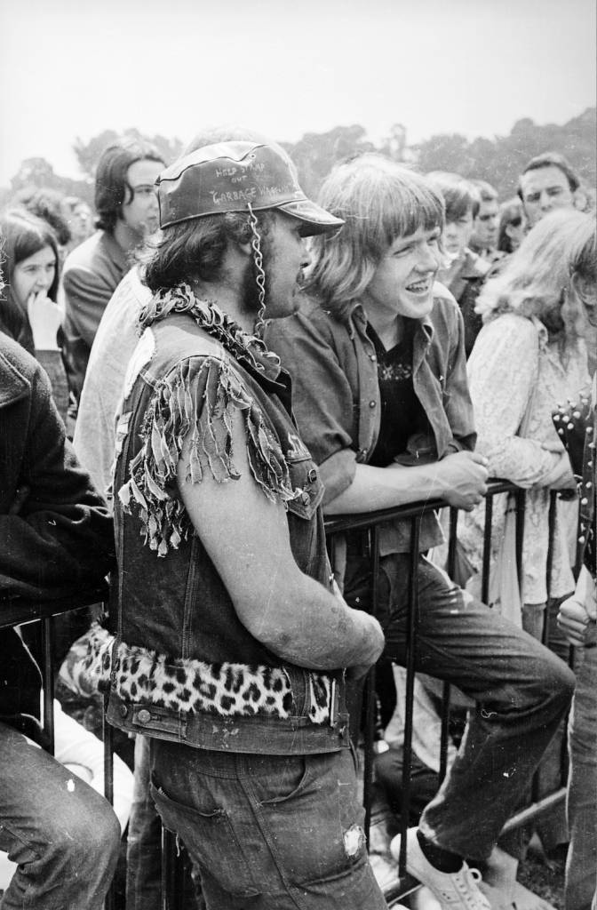 th July 1969: A member of the Hell's Angels provides the security at a Rolling Stones gig in London's Hyde Park. The free outdoor concert was a tribute to recently deceased band member Brian Jones. (Photo by Reg Burkett/Express/Getty Images)