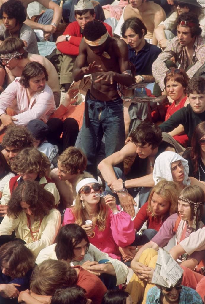 5th July 1969: Music fans in Hyde Park to see the Rolling Stones in concert. (Photo by J. Marmaras/Keystone/Getty Images)