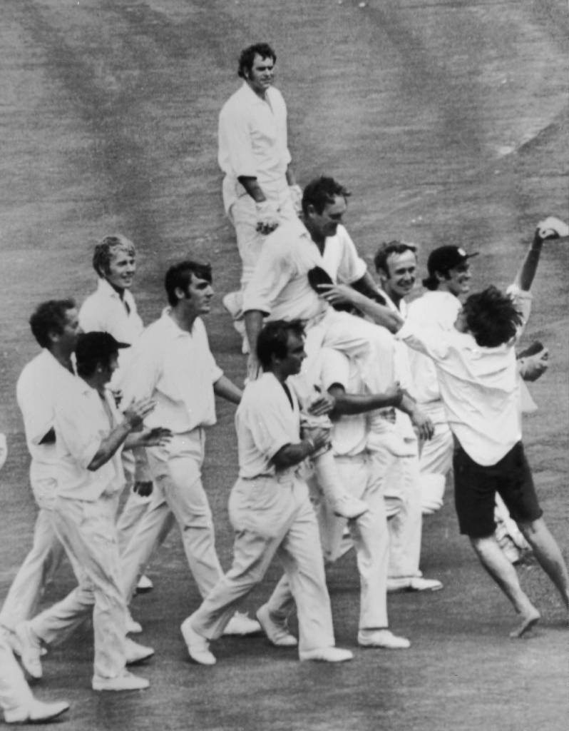 A victorious England team carry their captain Ray Illingworth off the field after clinching the Ashes by a 62 run win in the 7th Test Match in Sydney.  (Photo by Central Press/Getty Images)