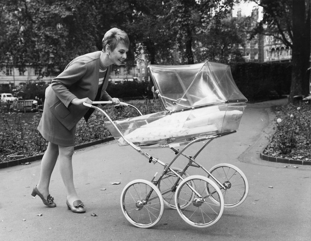 7th October 1968:  The new Leeway transparent plastic pram on display at the London Pram Fair.  (Photo by George W. Hales/Fox Photos/Getty Images)