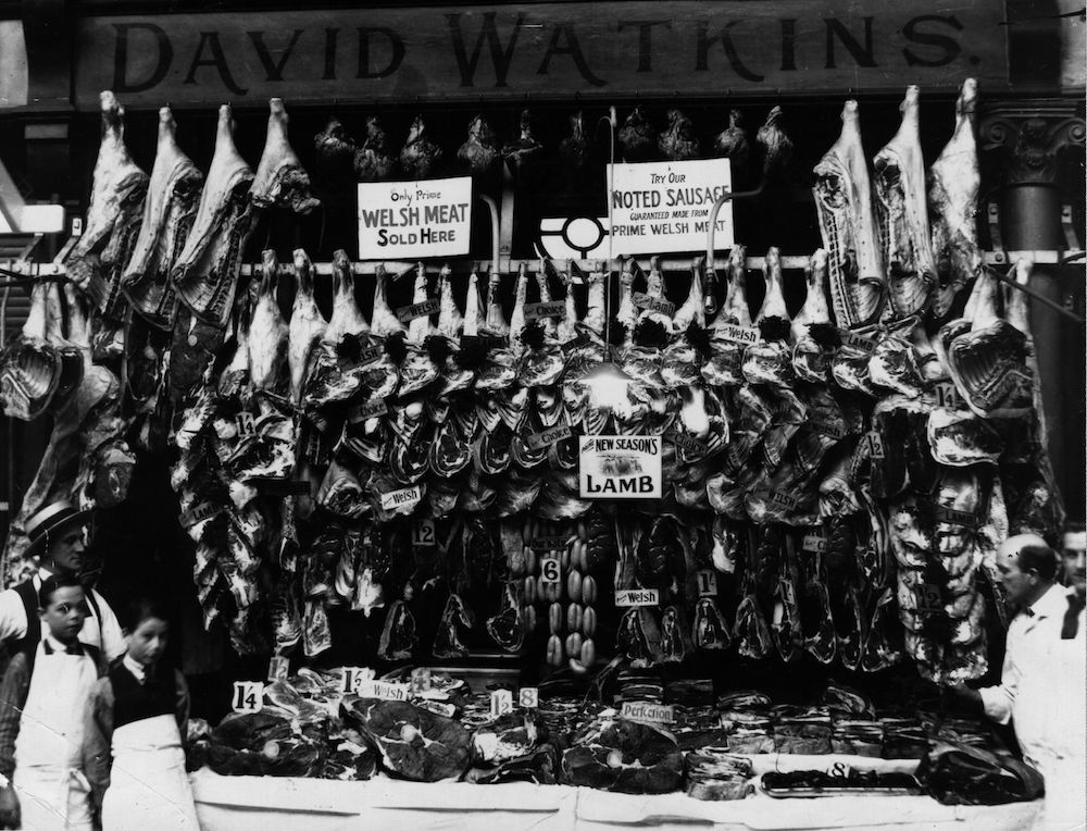 1950: Welsh butchers with their butchered meat. (Photo by Hulton Archive/Getty Images)