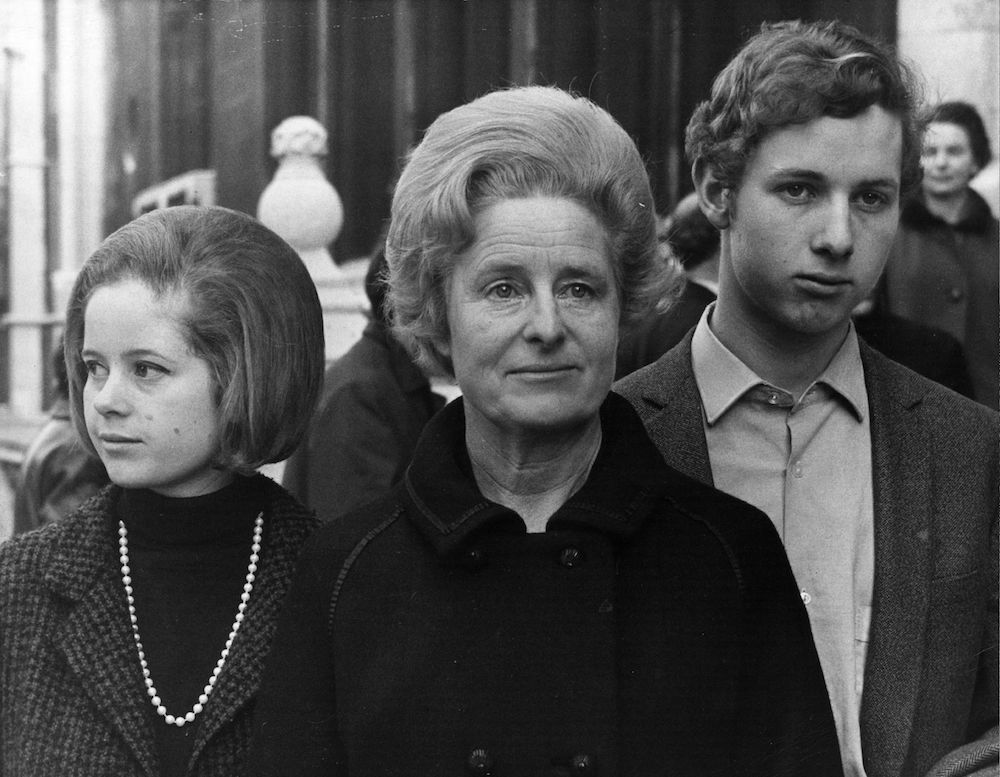 7th March 1968:  Mrs Dylan Thomas with her family, on the occasion of her legal action over the ownership of the manuscript of Dylan Thomas' 'Under Milk Wood'.  (Photo by Frederick R. Bunt/Evening Standard/Getty Images)
