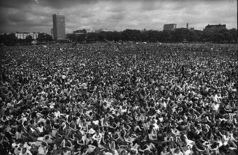 1970: Crowds in Hyde Park, central London, attending a rock concert. (Photo by Evening Standard/Getty Images)