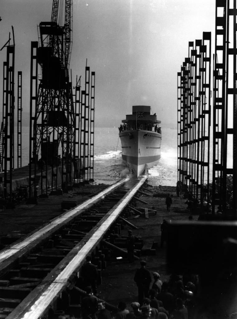 7th April 1936:  The launch of the 'HMS Hardy' at Cammel Laird shipyard in Birkenhead.  (Photo by Fox Photos/Getty Images)