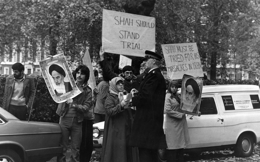 7th November 1979:  Iranians demonstrate in Grosvenor Square, London, for the extradition of the Shah from the USA.  (Photo by Stuart Nicol/Evening Standard/Getty Images)
