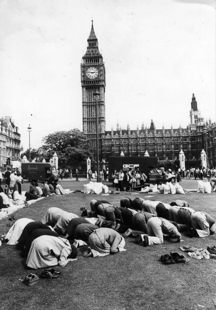 7th August 1980:  Iranians praying during a demonstration outside the House of Commons in London.  (Photo by Evening Standard/Getty Images)
