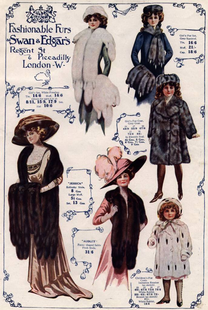 1910: An advertisement for furriers, Swan & Edgar's of Regent Street, showing a selection of fur stoles, matching muffs, and children's coats and hats. (Photo by Hulton Archive/Getty Images)