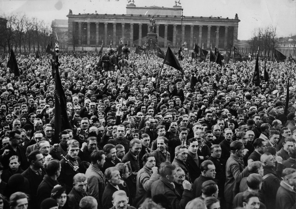 7th April 1932:  A communist mass meeting before the presidential elections.  The Old Museum is in the background.  (Photo by Hulton Archive/Getty Images)