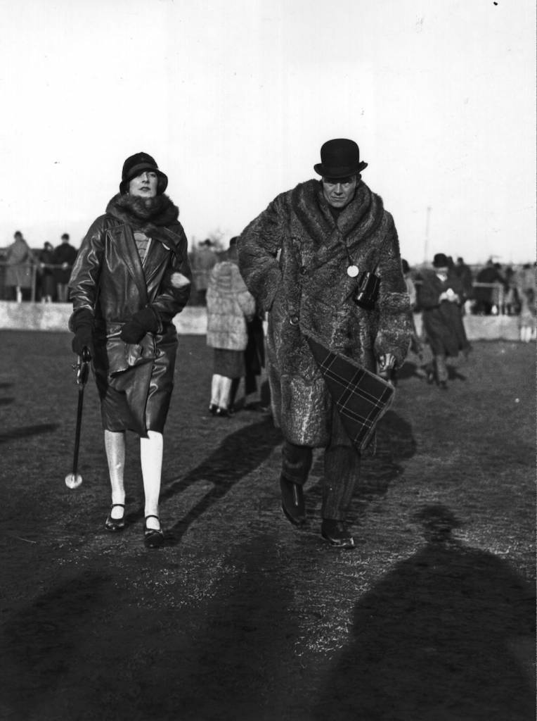 27th January 1927: The worker for the London Division of the British Red Cross Society and Saint Johns Ambulence, Lady Mountbatten (1901 - 1960), with the American, Stephen Sanford, at the Newbury Steeplechases. (Photo by W. G. Phillips/Topical Press Agency/Getty Images)