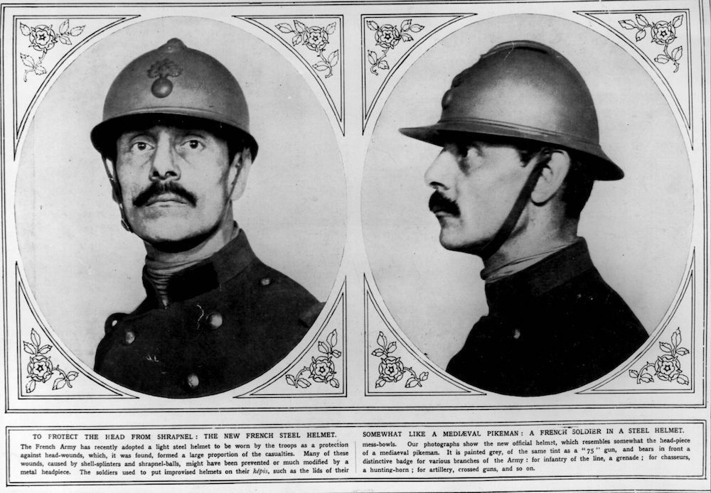 7th July 1915:  The French steel helmet worn by the army. Original Publication: Illustrated London News - pub. 1915  (Photo by Hulton Archive/Getty Images)