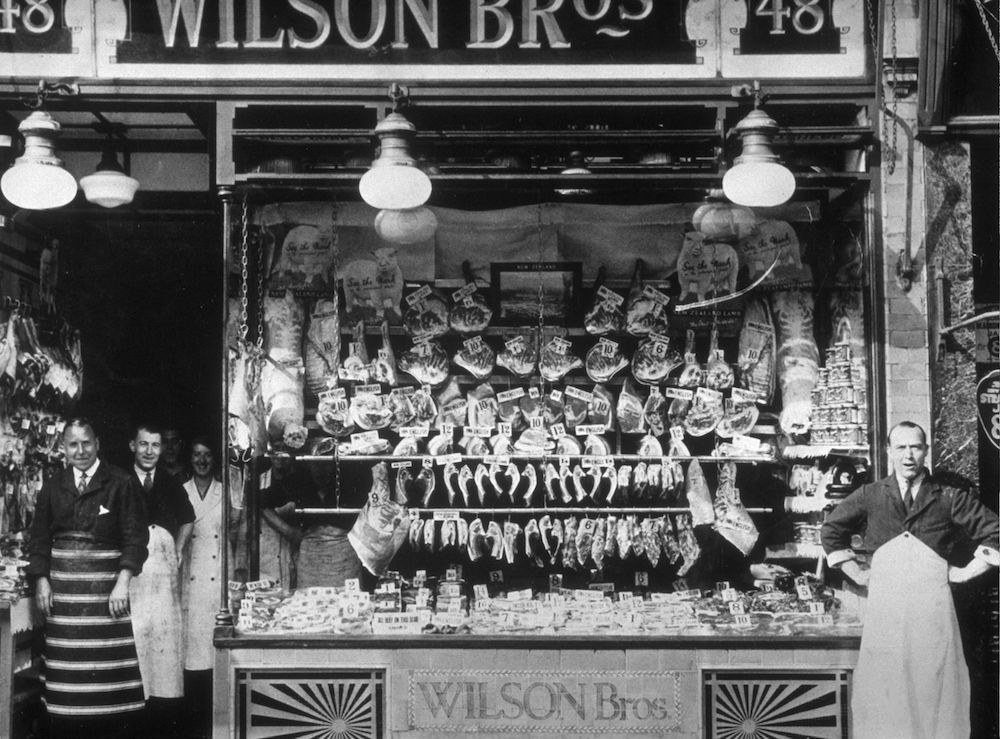 circa 1935: A butcher's shop window. (Photo by General Photographic Agency/Getty Images)
