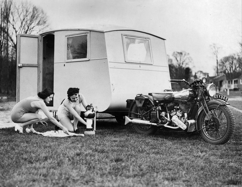 7th April 1939:  A caravan for two that can be drawn by a motor cycle. It is only 9ft 6ins long and 5ft wide.  (Photo by Fox Photos/Getty Images)