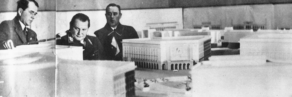7th September 1943:  German politico-military Hermann Wilhelm Goering  and architect and Nazi government official Albert Speer (left) viewing an architectural model of a future Berlin.  (Photo by Keystone/Getty Images)