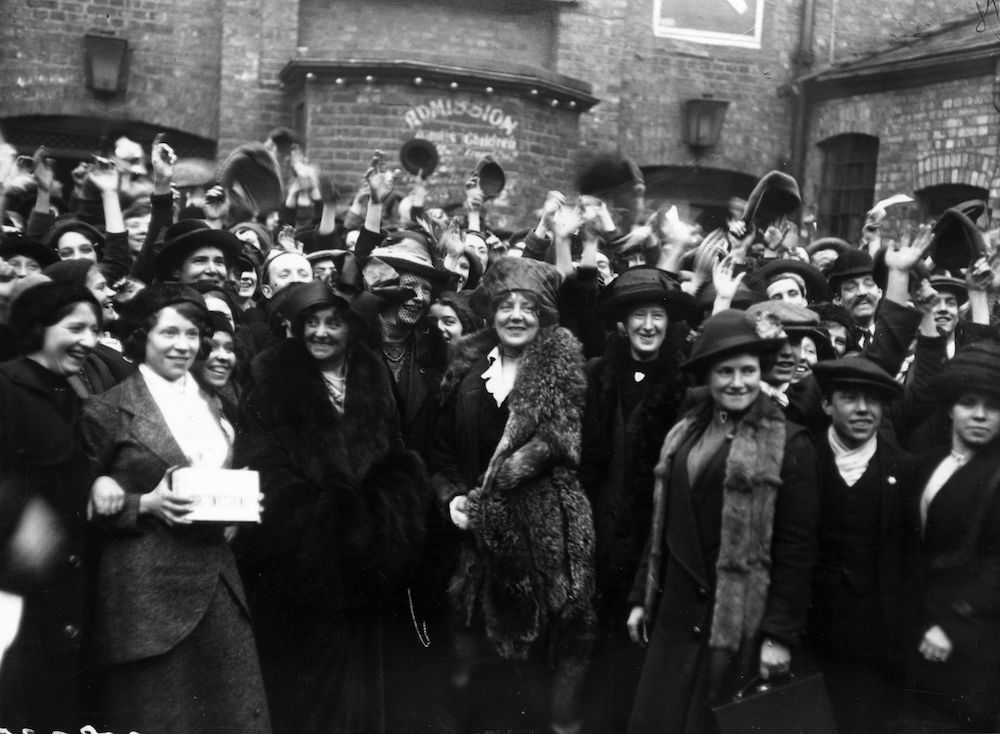March 1914: Lena Ashwell with Eva Moore and Mary McArthur after her address to strikers at Millwall. (Photo by Topical Press Agency/Getty Images)
