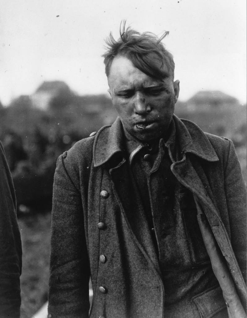 7th May 1945:  One of the ten German stormtroopers accused by captured Wehrmacht men of killing American prisoners of war at Malmedy, Belgium, during the Battle of the Bulge. They were taken by the 3rd Army in Germany and two of them were beaten by Wehrmacht soldiers.  (Photo by Keystone/Getty Images)