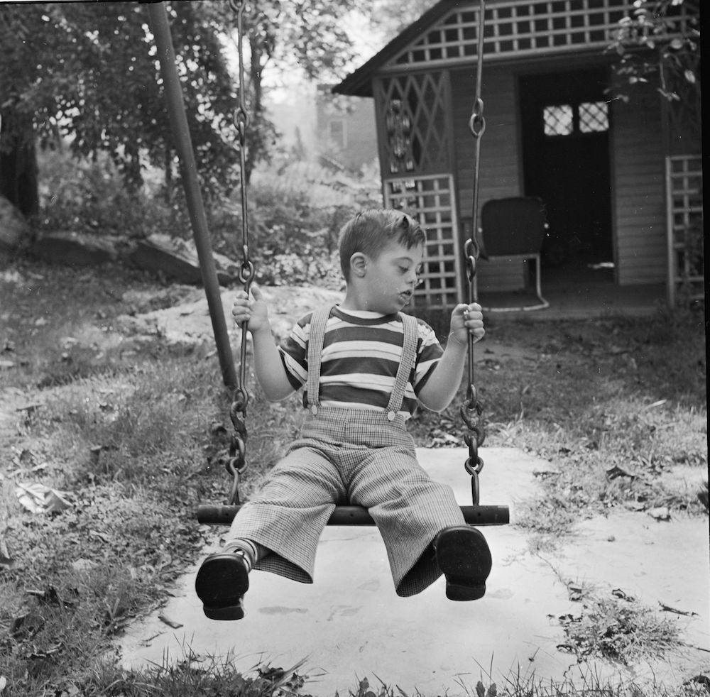circa 1948: A pupil at the Westchester County School of the Association for the Help of Retarded Children, the first parent-sponsored, non-profit school in New York State. (Photo by Orlando /Three Lions/Getty Images)
