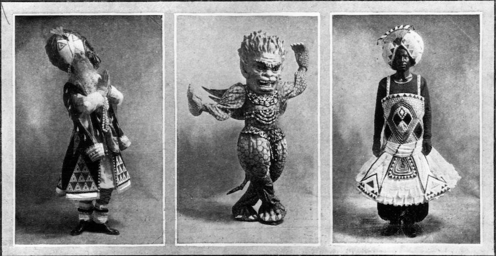 1st March 1913:  A triptych of characters from 'The Blue God', performed by the Russian Ballet at Covent Garden Opera House, with costumes created by Leon Bakst. Original Publication: The Graphic - The Blue God - pub. 1913  (Photo by Hulton Archive/Getty Images)