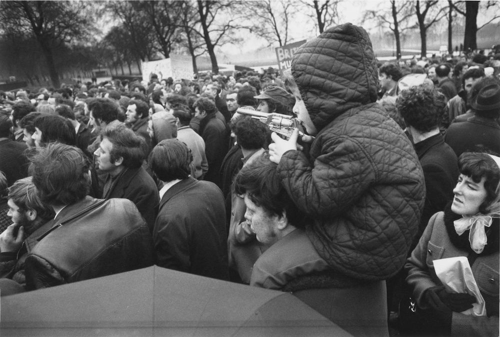 2nd February 1972: A demonstration in London's Hyde Park against the 'Bloody Sunday' massacre when British Paratroopers shot dead 13 civilians on a civil rights march in Derry City. (Photo by Central Press/Getty Images)