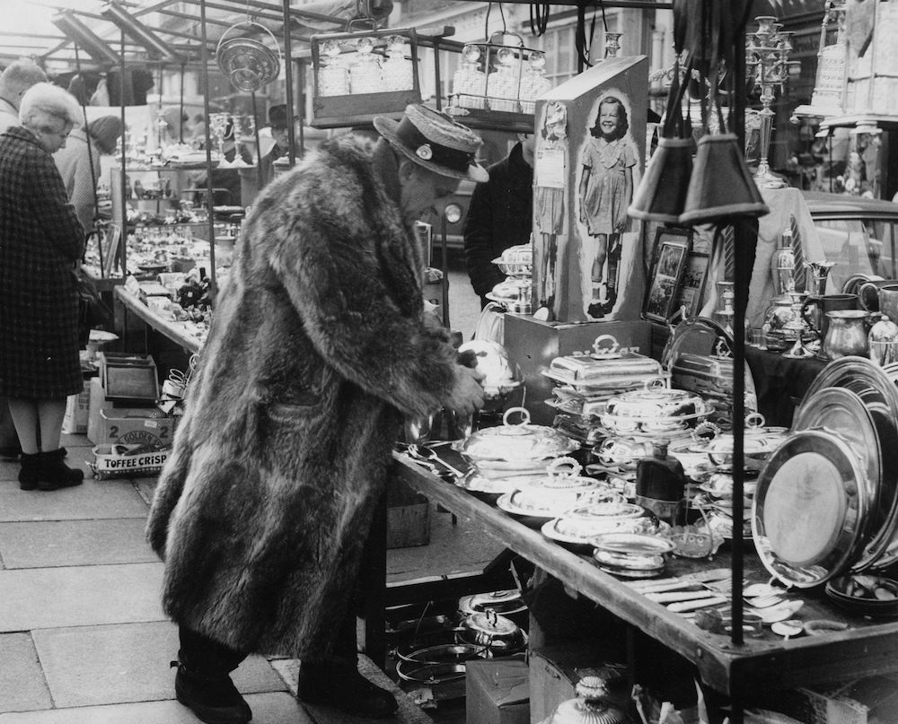 1966: A character at Portobello Road market, London. (Photo by Central Press/Getty Images)