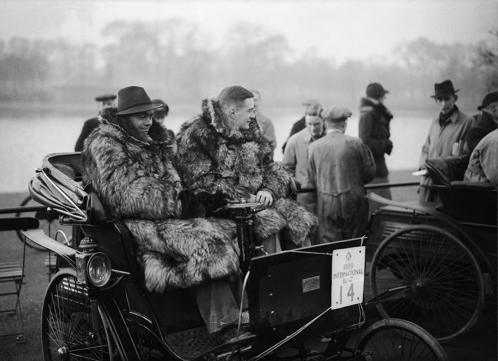 15th November 1936: G E C Martin and R O Shuttleworth wearing winter coats before a race in Hyde Park, London. (Photo by Topical Press Agency/Getty Images)