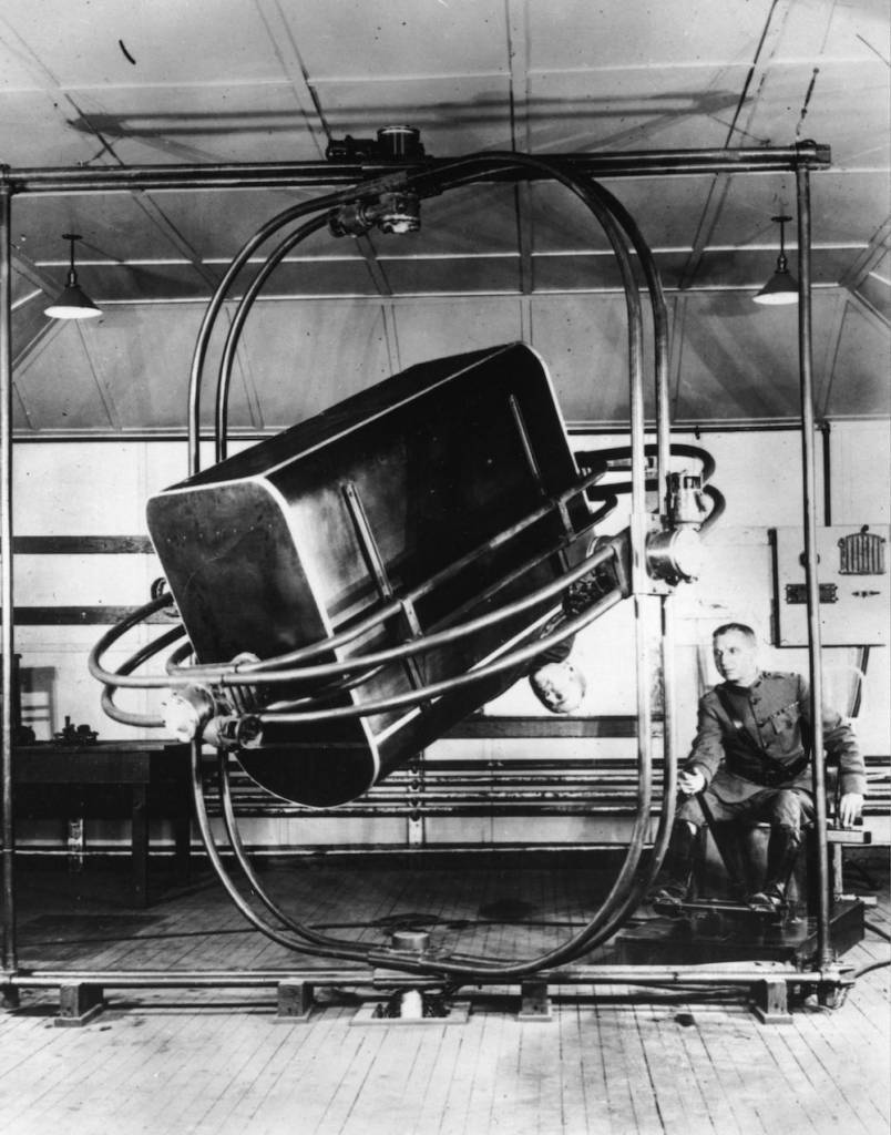 7th December 1926:  The Ruggles Orientator, or 'Bath Tub', used by the US School of Aviation Medicine in preflight testing to give students the feel of instrument flying. A hood could be placed over the cockpit to simulate flying at night or under nonvisual conditions.  (Photo by Topical Press Agency/Getty Images)