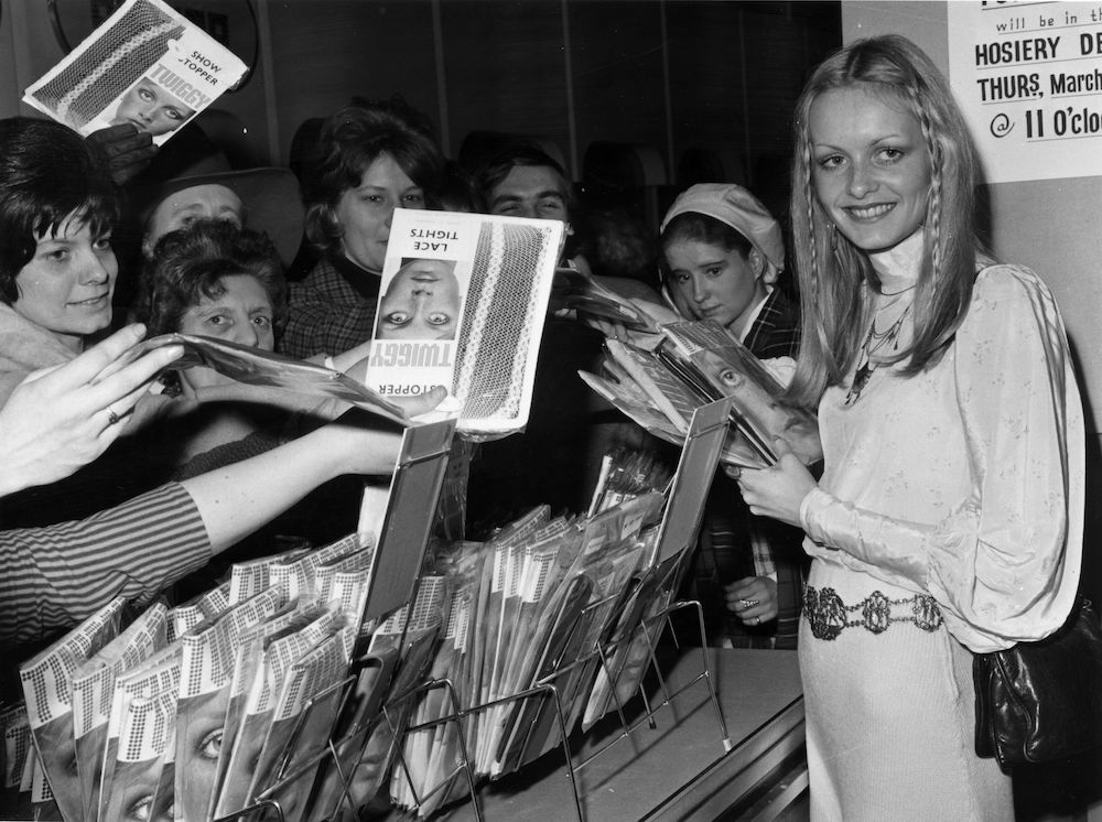 7e71d28b52b5 19th March 1970  British model and sixties icon Twiggy selling her own  brand of tights
