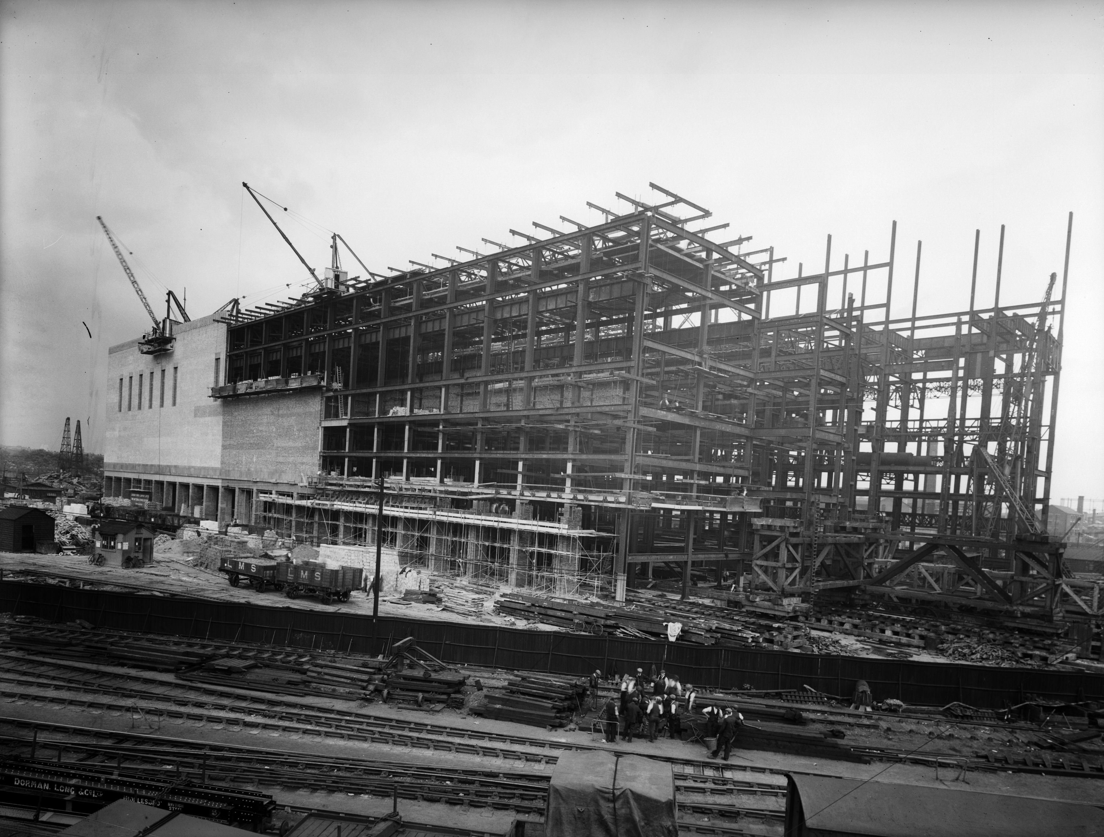 circa 1934: Battersea Power Station under construction in London. The building was designed by leading architect Giles Scott in the Gothic style. (Photo by Fox Photos/Getty Images)