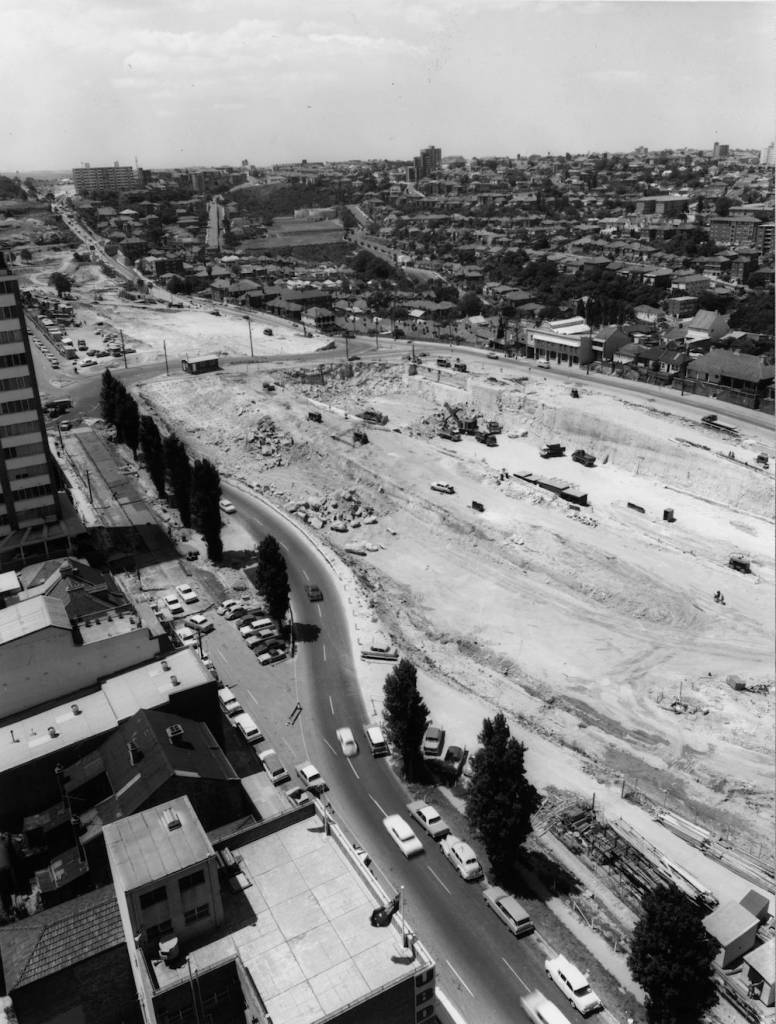 7th February 1966:  A construction site during the building of the Warringah Expressway in Sydney, Australia.  (Photo by J. R. T. Richardson/Fox Photos/Getty Images)