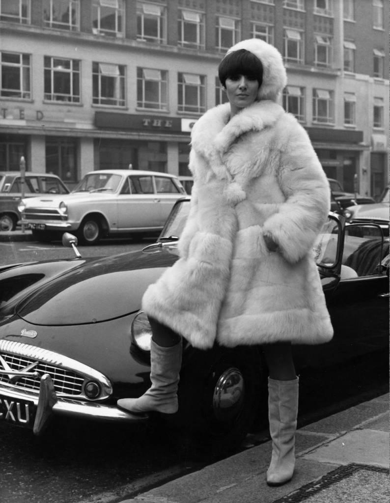21st September 1966: Jennie Lyons modelling 'Ursula', a champagne lucca llama fur coat with matching hat, designed by Carnaby Street designer Irvine Sellars. (Photo by George Freston/Fox Photos/Getty Images)