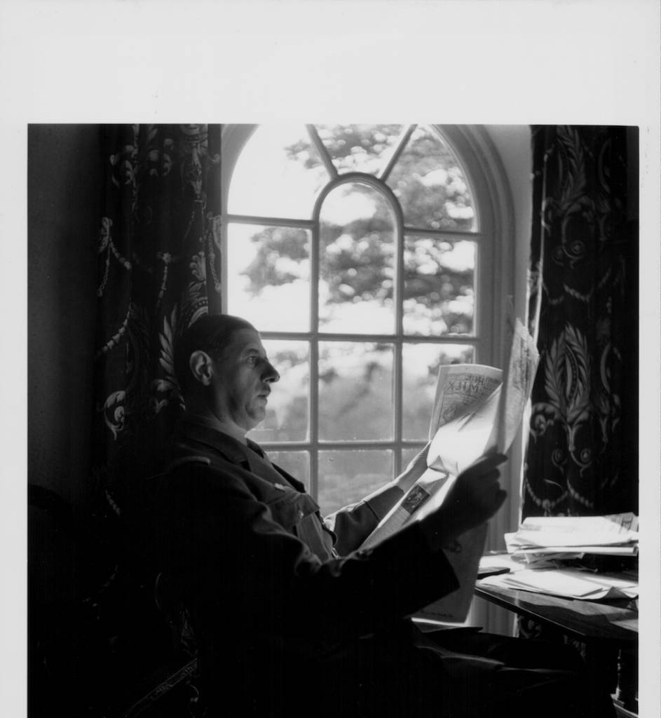 French General Charles de Gaulle reading in his home, following his evacuation to England due to the occupation of France in World War Two, Berkhamsted, England, October 7th 1941. (Photo by Fred Ramage/Keystone Features/Getty Images)