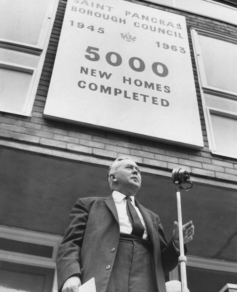 Leader of the Opposition Harold Wilson speaking at the opening of the 5000th flat built by Pancras Council, in Clarence Gardens, London, September 7th 1963. (Photo by Edward Miller/Keystone/Getty Images)
