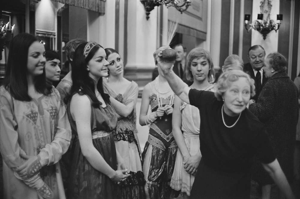 Madame Sakova with students of the Royal Ballet School dressed in costumes from the 'Ballet Russes' prior to the costumes being auctioned at Sotheby's, 7th April 1967. (Photo by Victor Blackman/Express/Hulton Archive/Getty Images)