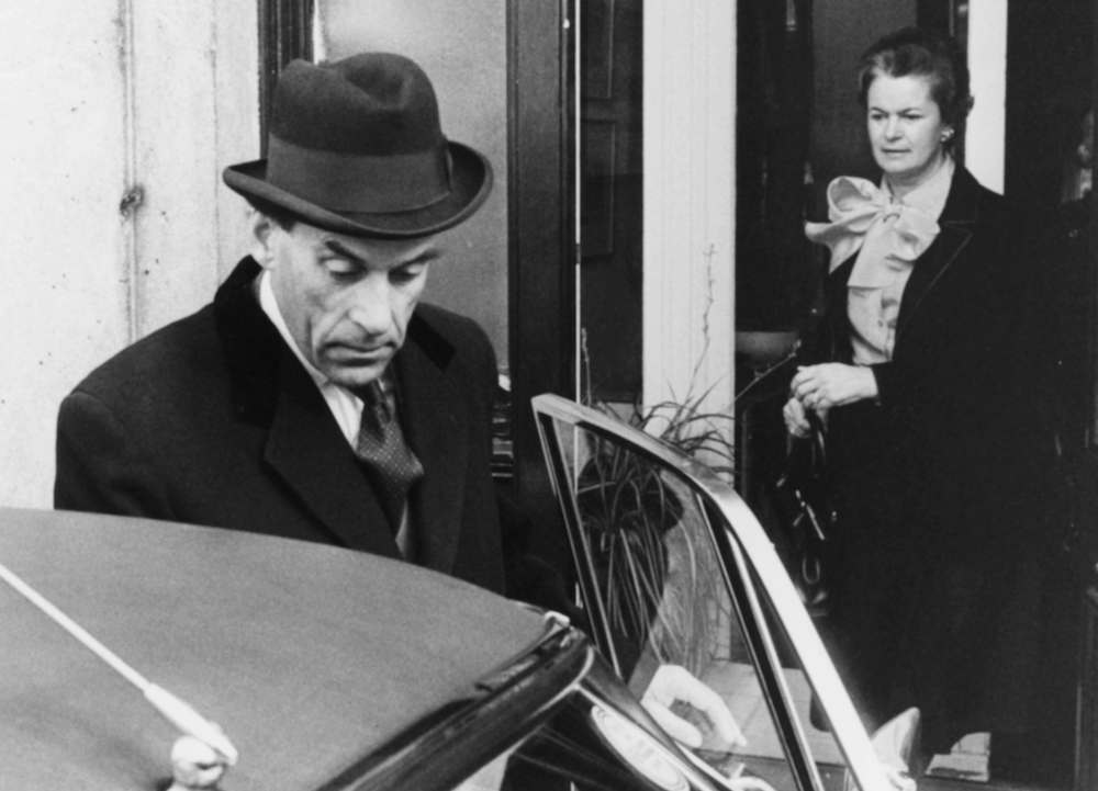 Former Liberal Party leader Jeremy Thorpe getting in to a car, followed by his wife Marion, on the way to the Old Bailey where he faces charges of conspiracy to murder, London, May 7th 1979. (Photo by Central Press/Hulton Archive/Getty Images)