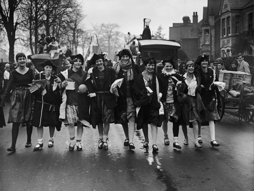 Female students from Reading University, taking part in a rag-week event in aid of the Berkshire Hospital, 7th December 1926. (Photo by Kirby/Topical Press Agency/Hulton Archive/Getty Images)
