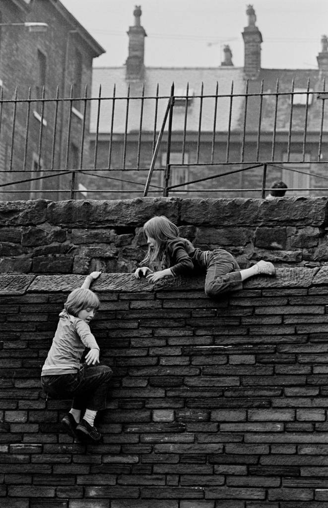 Girls at play, Bradford terraces, 1972
