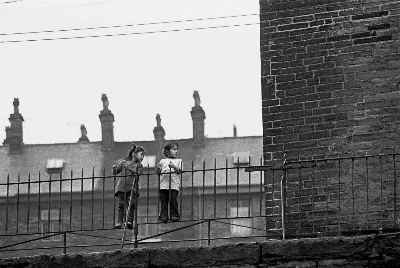 Girls on a fence, Bradford 1972