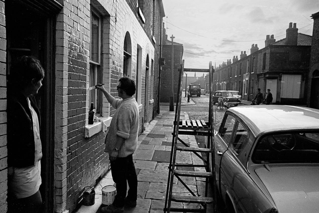 Housepainting after work, Salford 1969