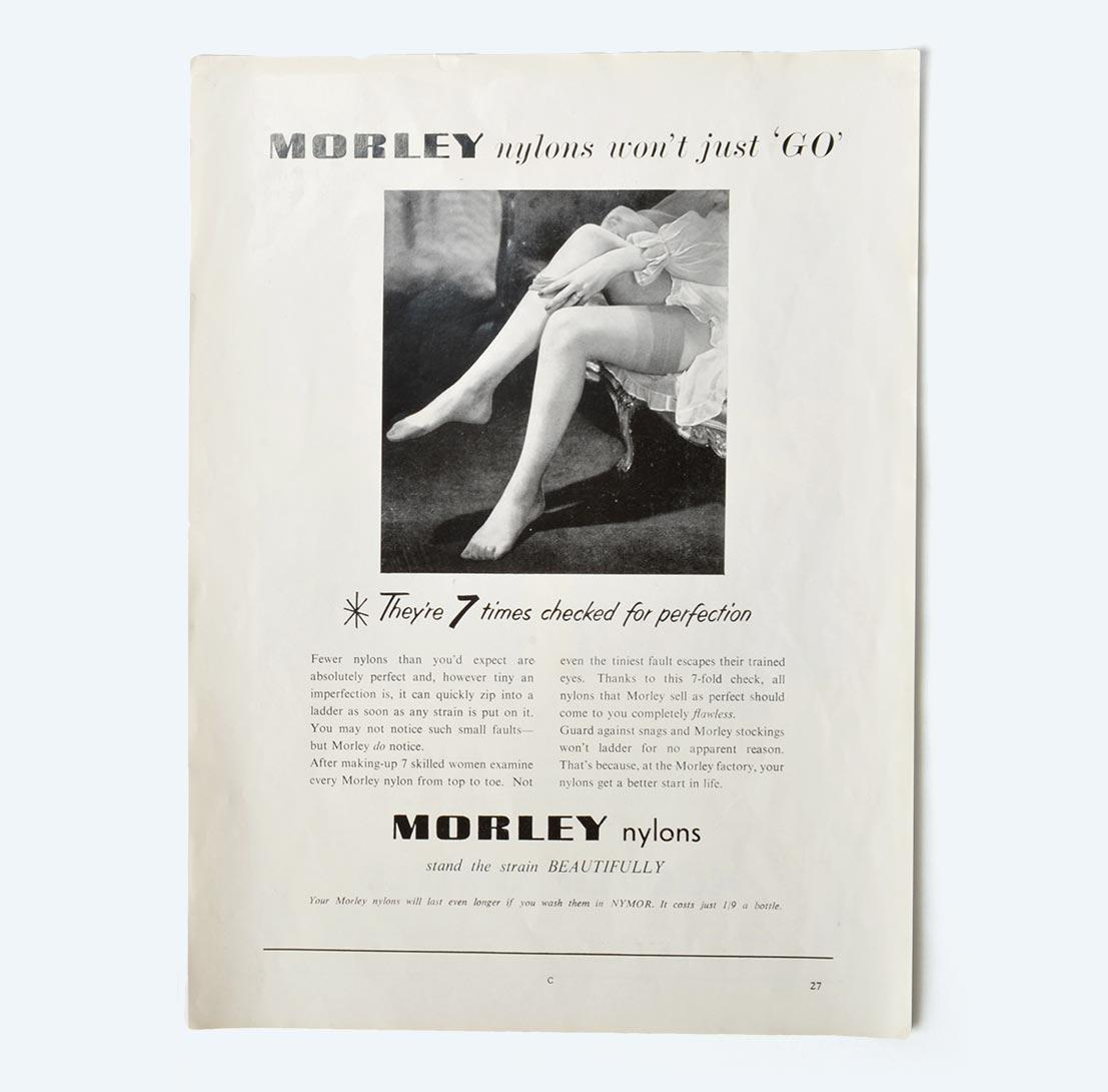 I&R Morley Nylon Stockings a magazine advert from 1955.