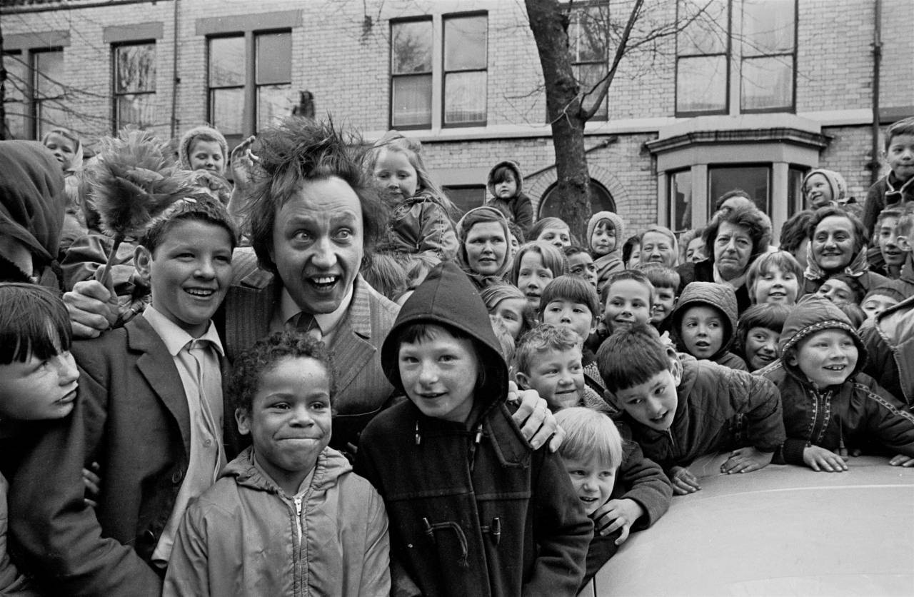 Ken Dodd with the crowd openiing a SNAP showhouse Liverpool 8 1969