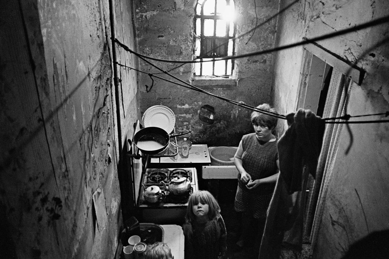 Kitchen of a Saltley slum property 1969