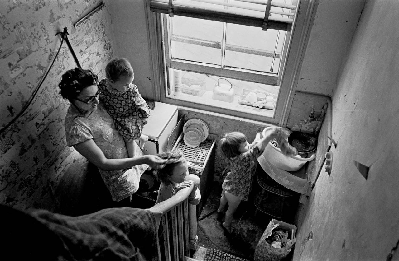Kitchen on a Brixton staircase London 1972