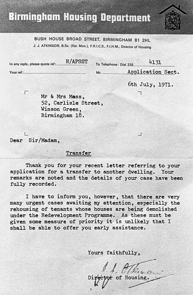 Letter regarding health and slum property, Birmingham 1971