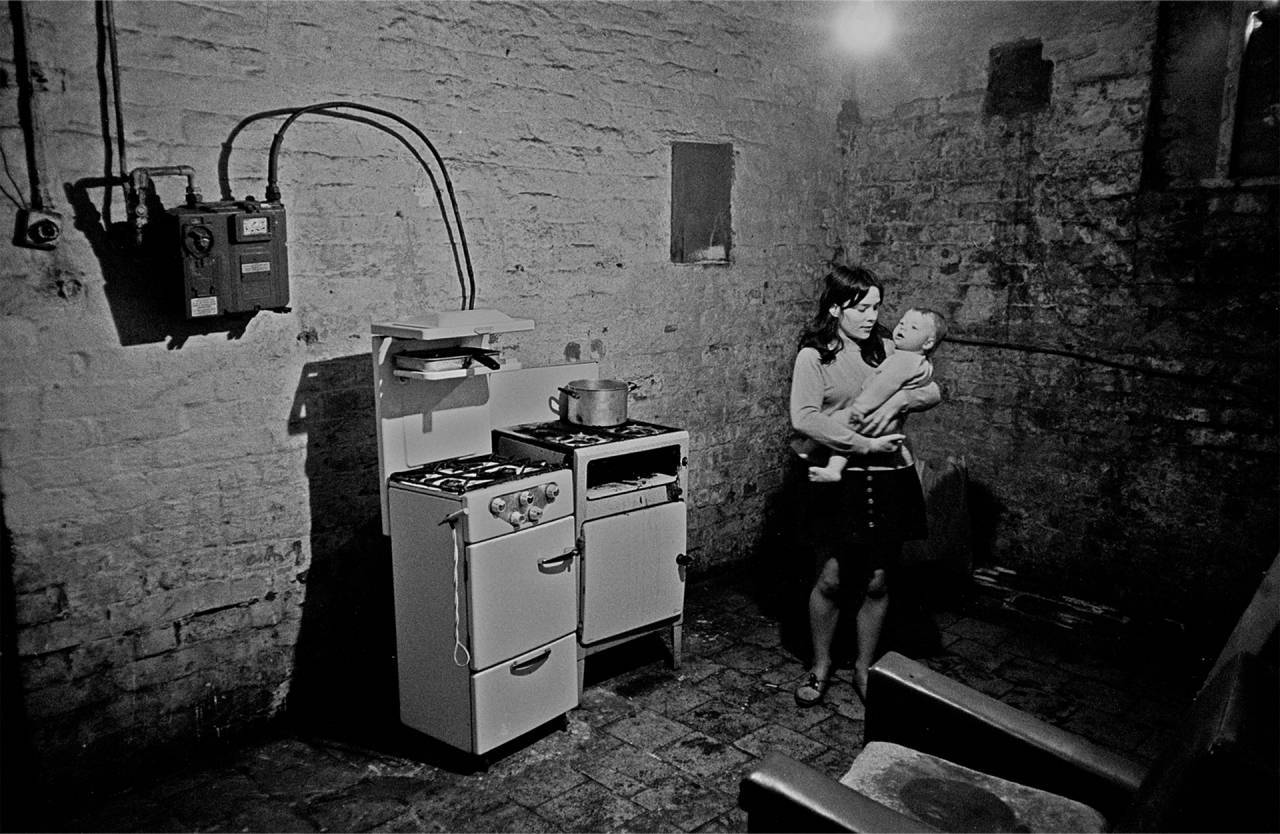 Liverpool, 1969 A basement kitchen in a multi-let