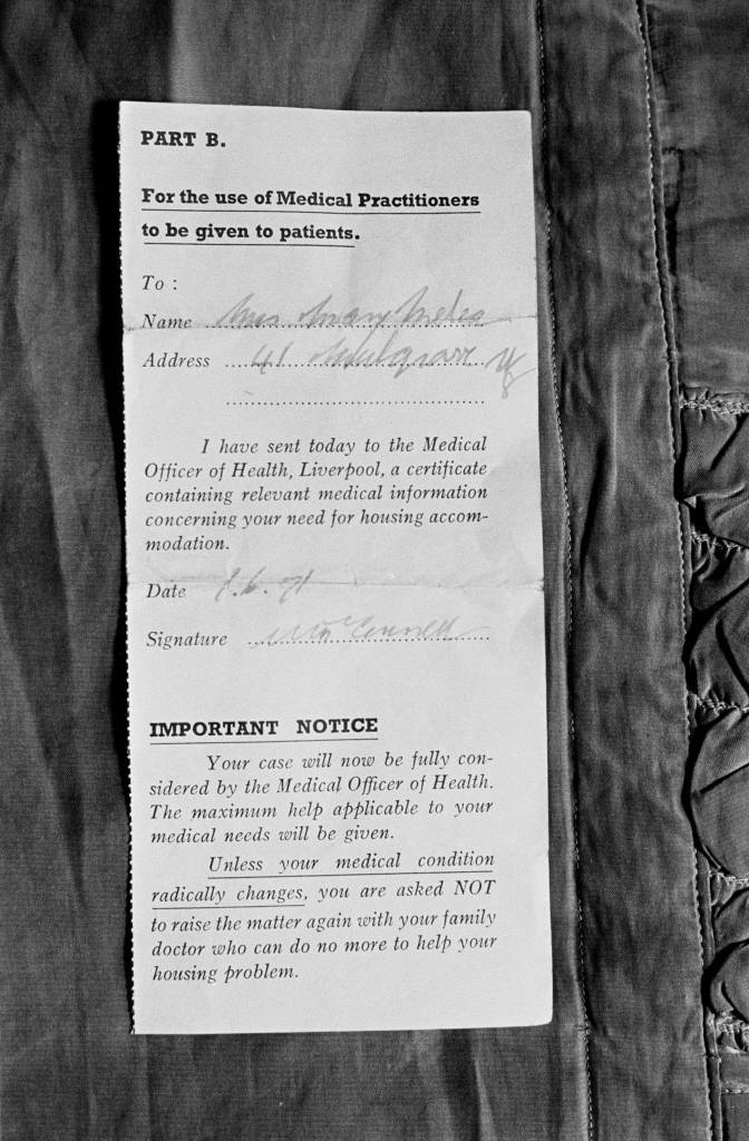 Medical certificate for rehousing, 1971