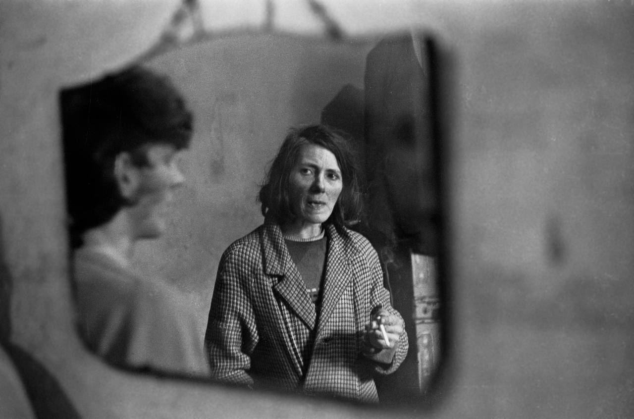 Mother and son reflected in mirror West End Newcastle upon Tyne 1971