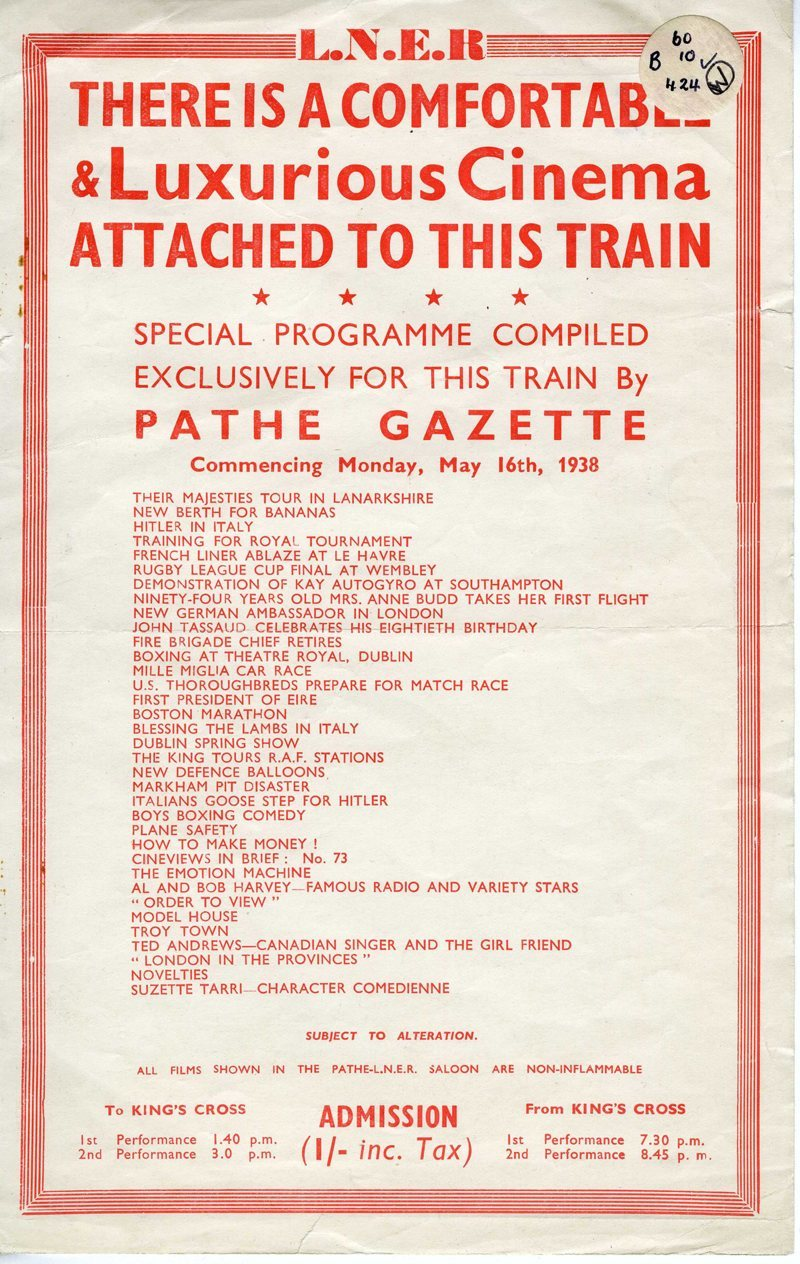 Pamphlet listing films to be shown in the Pathe Saloon Car on London and North Eastern Railway trains in and out of London. 1938 (via National Archives)