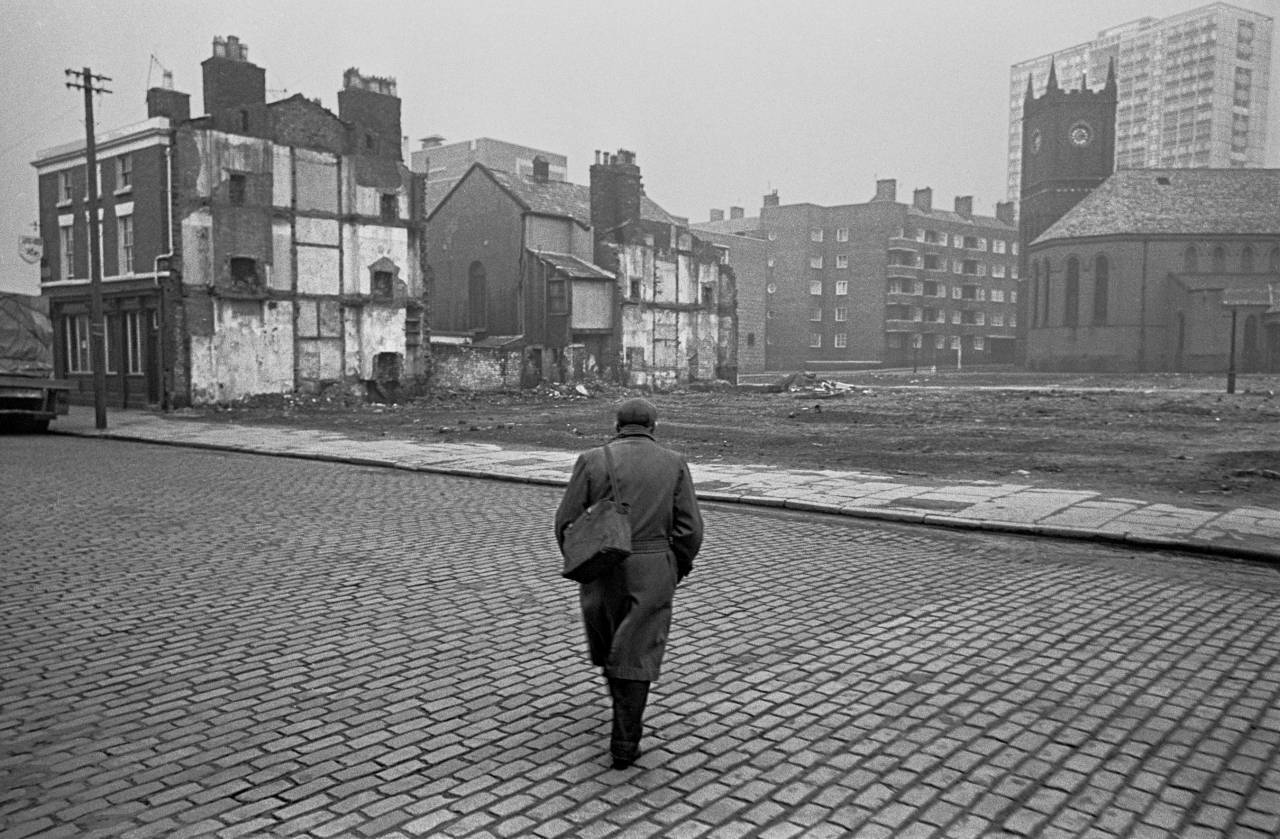 Returning from work across clearence site Liverpool 8 1969