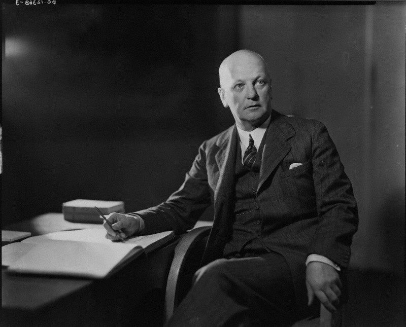 Sir Giles Gilbert Scott by Howard Coster, 1934.