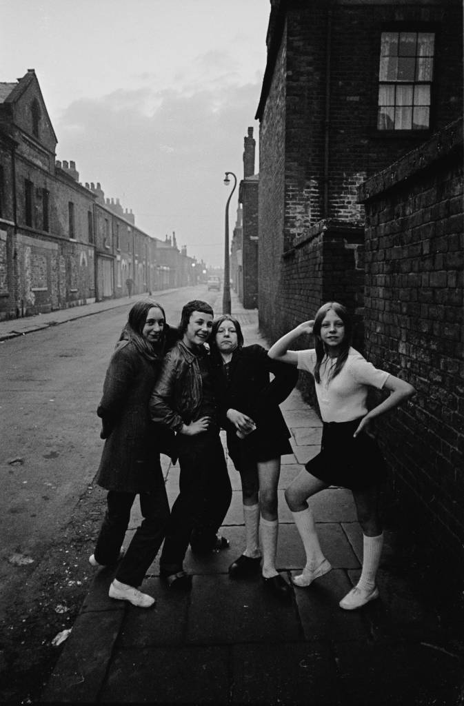 Teenage girls at dusk Salford 1969
