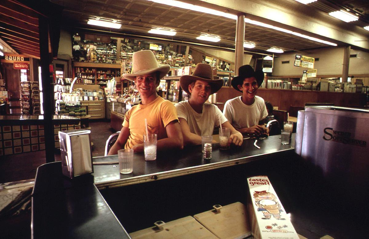 Teenagers in drugstore in Stockyards area of Fort Worth, October 1972.